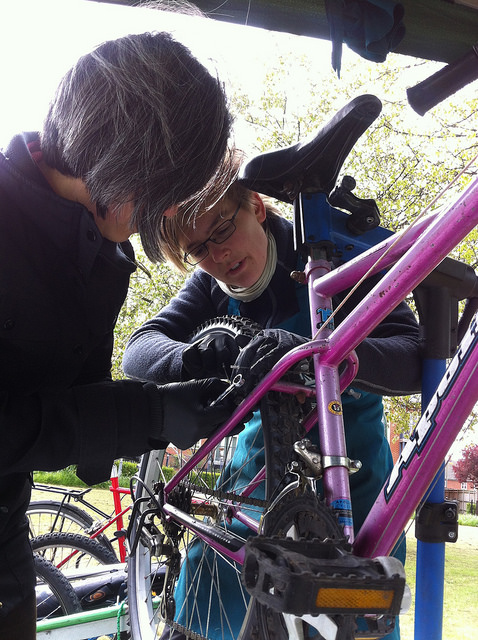 Meike at DIY repair stall in Rose Hill